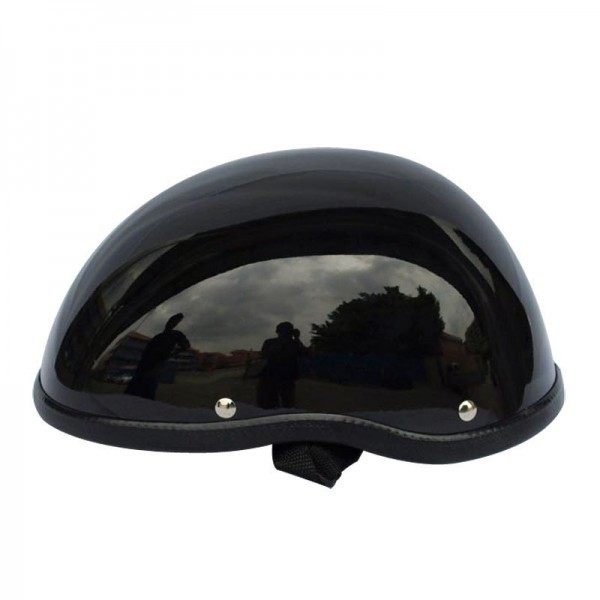 装飾用 ヘルメット ダックテール ハーフ 半ヘル 半帽 ジョッキー フリーサイズ ハーレー チョッパー 光沢 艶有り 黒 OM58ブラック_画像3
