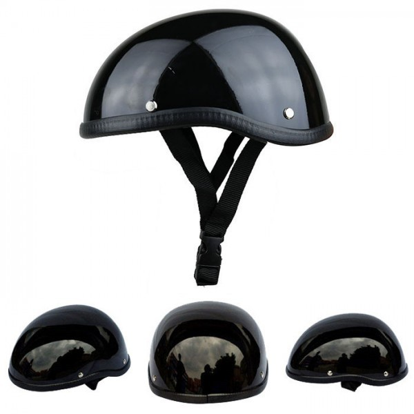 装飾用 ヘルメット ダックテール ハーフ 半ヘル 半帽 ジョッキー フリーサイズ ハーレー チョッパー 光沢 艶有り 黒 OM58ブラック_画像2