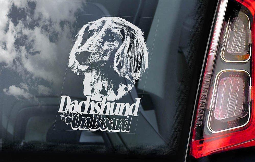 送料無料【ダックスフント/ダックス】外張り カーステッカー 145×100mm*外貼り@カー ステッカー ウインドウ シール@DOG ON BOAD 犬 D8_画像1