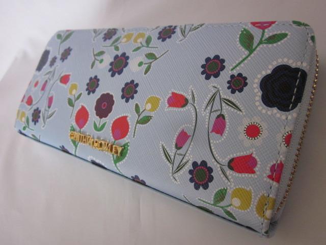 シンシアローリー 花柄・フロール・ライトブルーラウンドジッパー 長財布 CRP482_画像3