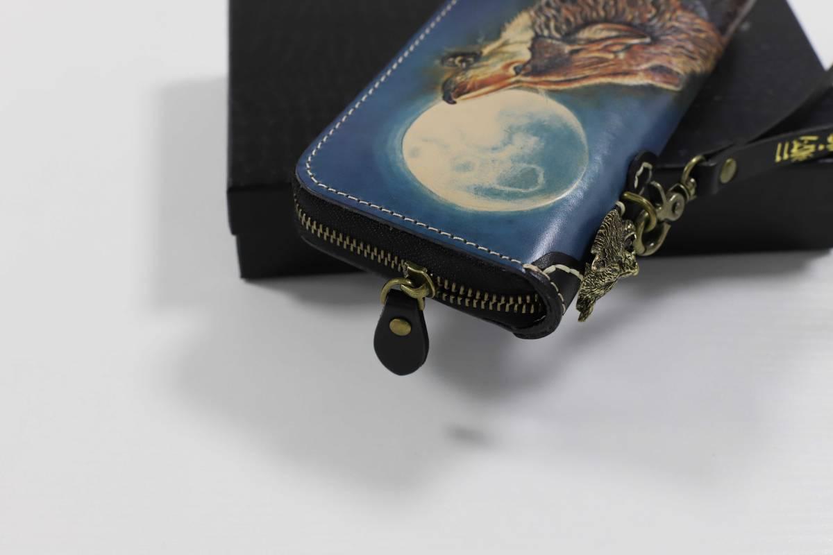 職人の伝統 カービング 牛革 本革長財布 栃木レザーウォレット本革二つ折り 新品 メンズ 財布 手縫いハンドメイドMC258_画像5