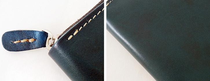 【エイジングを楽しむ】 イタリアンレザー 新品 未使用 メンズ 財布 二つ折り コンチョ 本革 革 牛革 ヌメ革 ミニ 青KF99_画像4