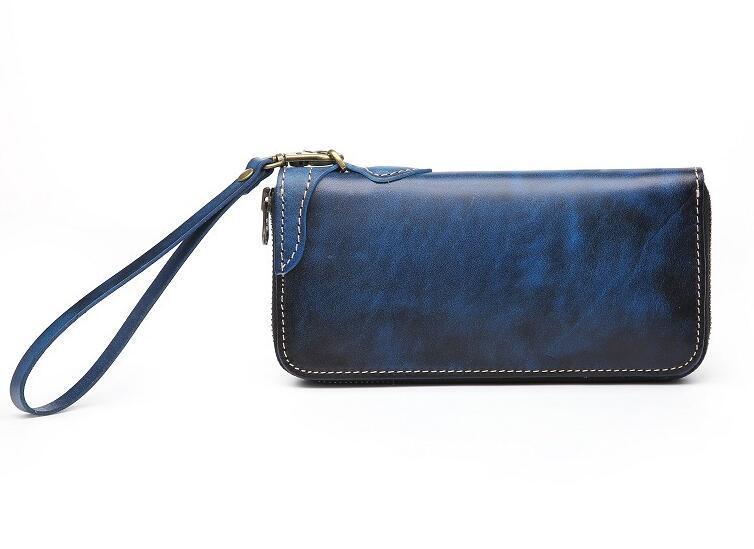 「匠」深いブルーへの変化を楽しむ 手縫い 長財布 本革 ラウンドファスナー ヌメ革 メンズ財布 牛革 栃木レザーMC170_画像3