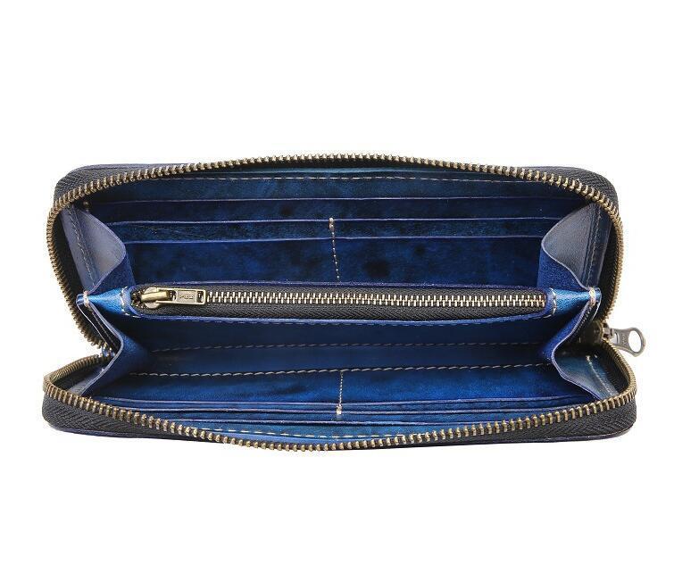 「匠」深いブルーへの変化を楽しむ 手縫い 長財布 本革 ラウンドファスナー ヌメ革 メンズ財布 牛革 栃木レザーMC170_画像5