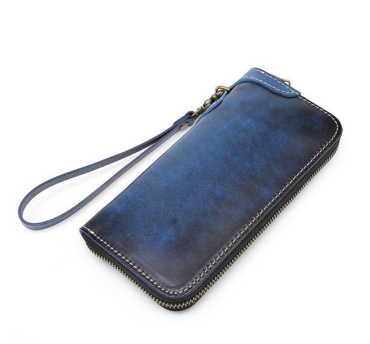 「匠」深いブルーへの変化を楽しむ 手縫い 長財布 本革 ラウンドファスナー ヌメ革 メンズ財布 牛革 栃木レザーMC170_画像2