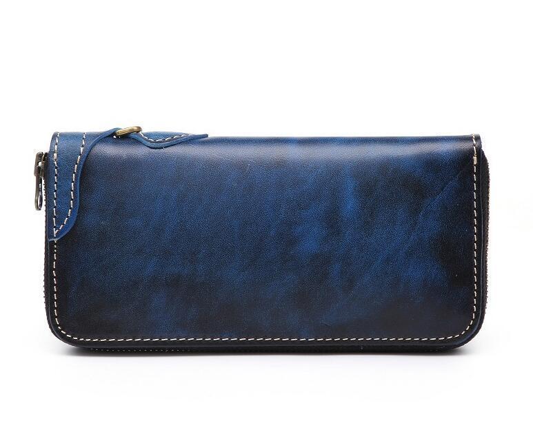 「匠」深いブルーへの変化を楽しむ 手縫い 長財布 本革 ラウンドファスナー ヌメ革 メンズ財布 牛革 栃木レザーMC170