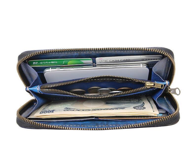 「匠」深いブルーへの変化を楽しむ 手縫い 長財布 本革 ラウンドファスナー ヌメ革 メンズ財布 牛革 栃木レザーMC170_画像4