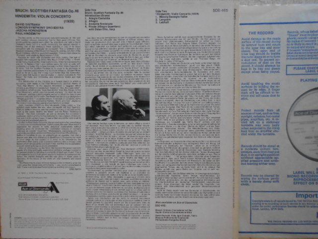 英DECCA SDD-465 オイストラフ ブルッフ スコットランド幻想曲 ヒンデミット ヴァイオリン協奏曲 OISTRAKH_画像3