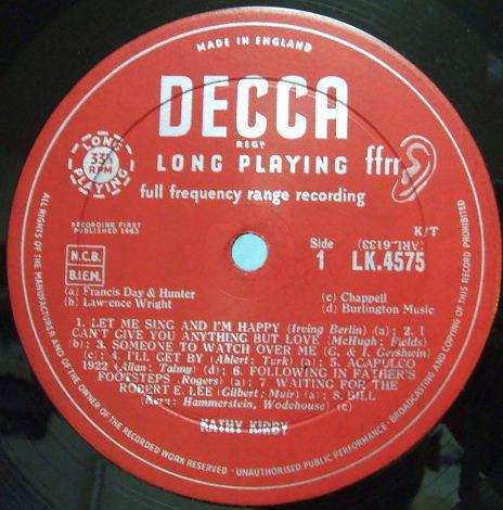 3枚で送料無料【英Decca mono】Kathy Kirby/sings 16 Hits from Stars & Garters (open Decca)_画像2