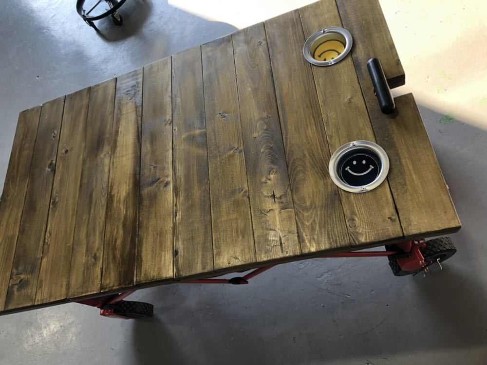コールマン ワゴン 折りたたみテーブル ホルダー付き アウトドア 送料無料_画像2
