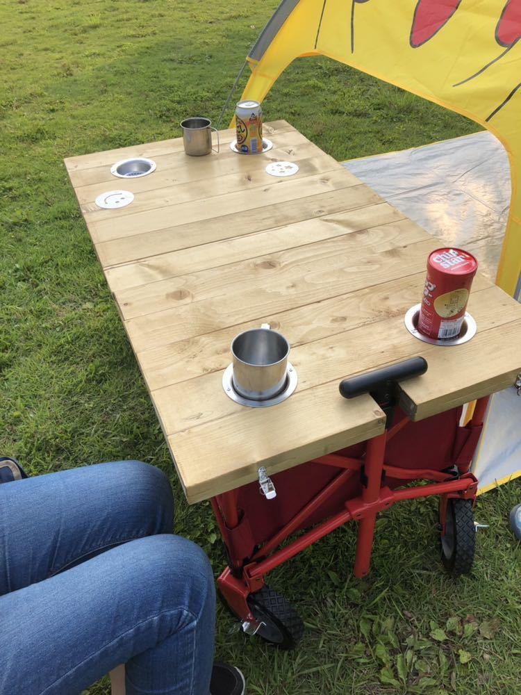 コールマン ワゴン 折りたたみテーブル ホルダー付き アウトドア 送料無料_画像6