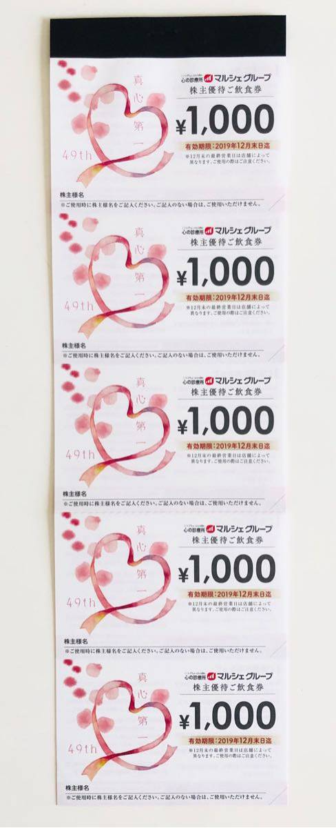 ☆.。.:*・マルシェ 株主優待1000円×15 15000円分 2019年12月末まで☆.。.:*・