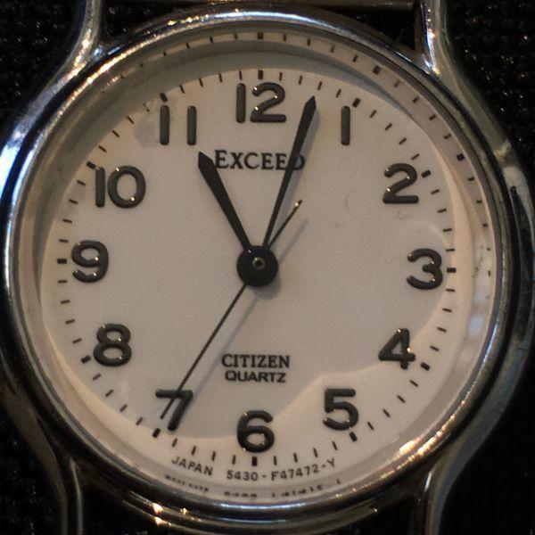 シチズン CITIZEN EXCEED エクシード レディース 腕時計 クォーツ 3針 婦人 時計 シルバー色 中古 当時物 /S387_画像2