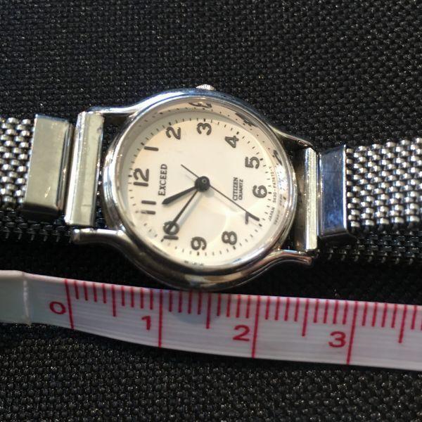 シチズン CITIZEN EXCEED エクシード レディース 腕時計 クォーツ 3針 婦人 時計 シルバー色 中古 当時物 /S387_画像6