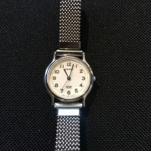 シチズン CITIZEN EXCEED エクシード レディース 腕時計 クォーツ 3針 婦人 時計 シルバー色 中古 当時物 /S387
