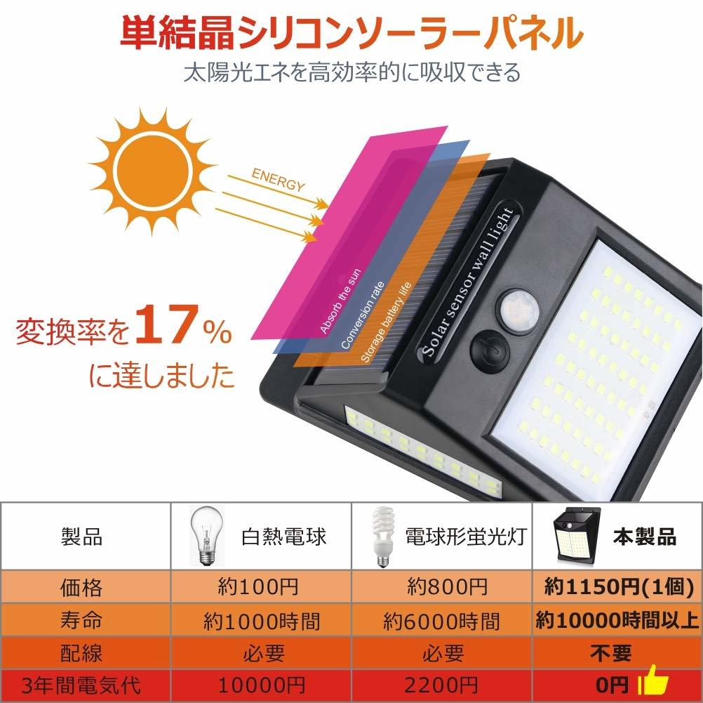 O447 新品 センサーライト 屋外 照明 ソーラー LED 人感センサー 防水 防犯ライト 太陽光発電 玄関 庭 駐車場 壁 照明 4個セット_画像5
