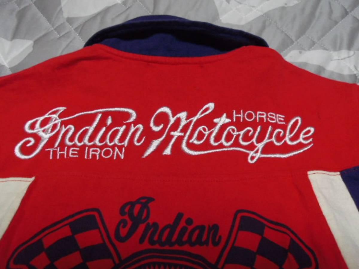 【INDIAN】 インディアンモーターサイクル 刺繍 ポロシャツ M_画像4