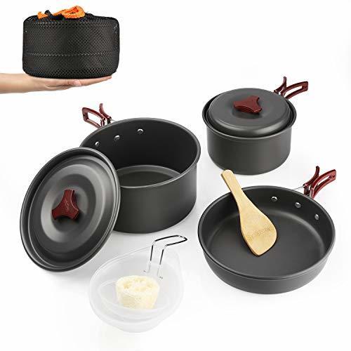 ャンプクッカー クッカーセット アウトドア鍋 アルミ 調理器具 セット キャンピング鍋 キャンプ 鍋セット アウトドア 収納袋付き