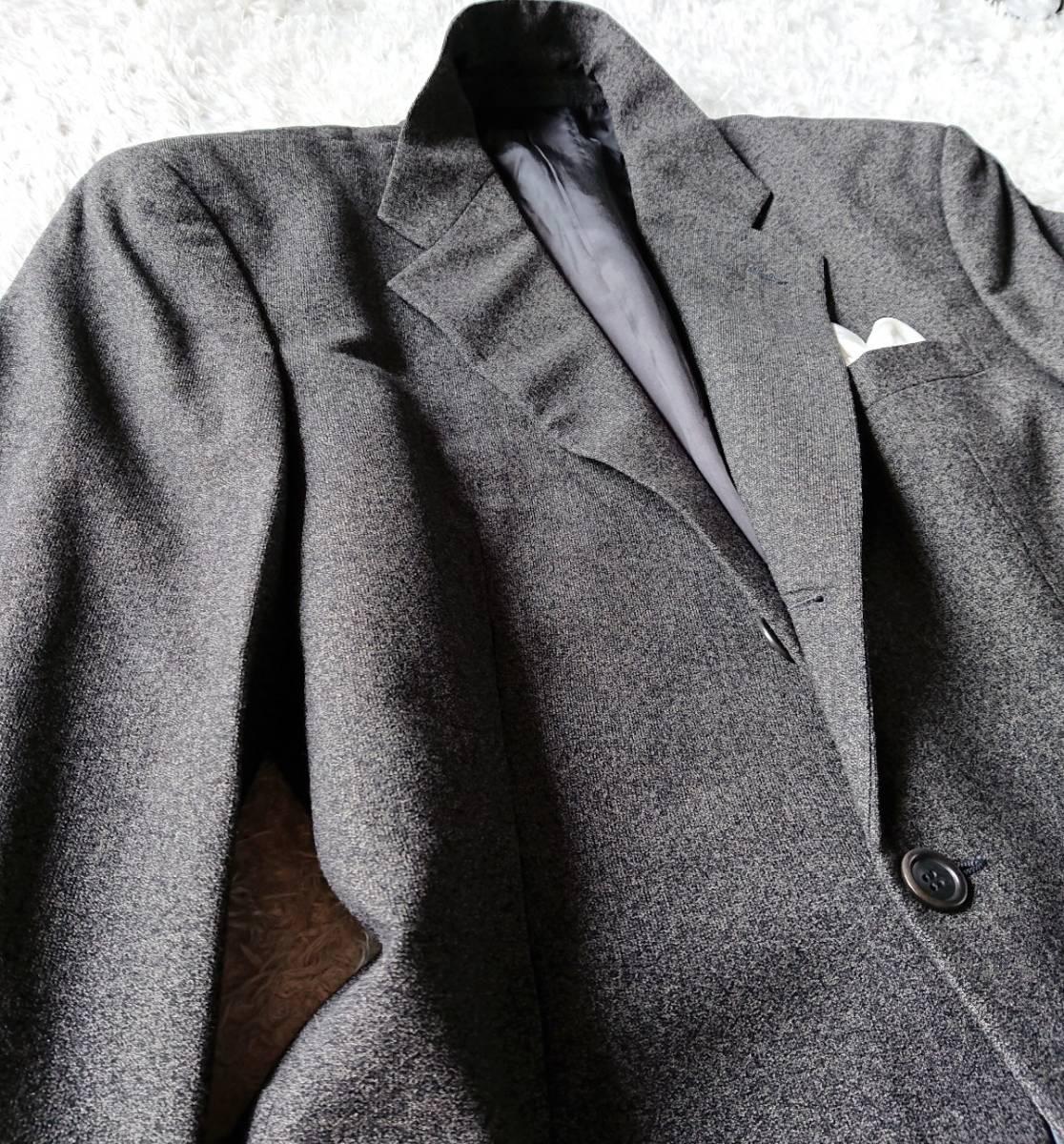 最高級ビジネスライン 極上ヴァージンウール100% 柔らか高級な肌触★ アルマーニ コレツィオーニ スーツ セットアップ メンズ ダークグレー_画像9