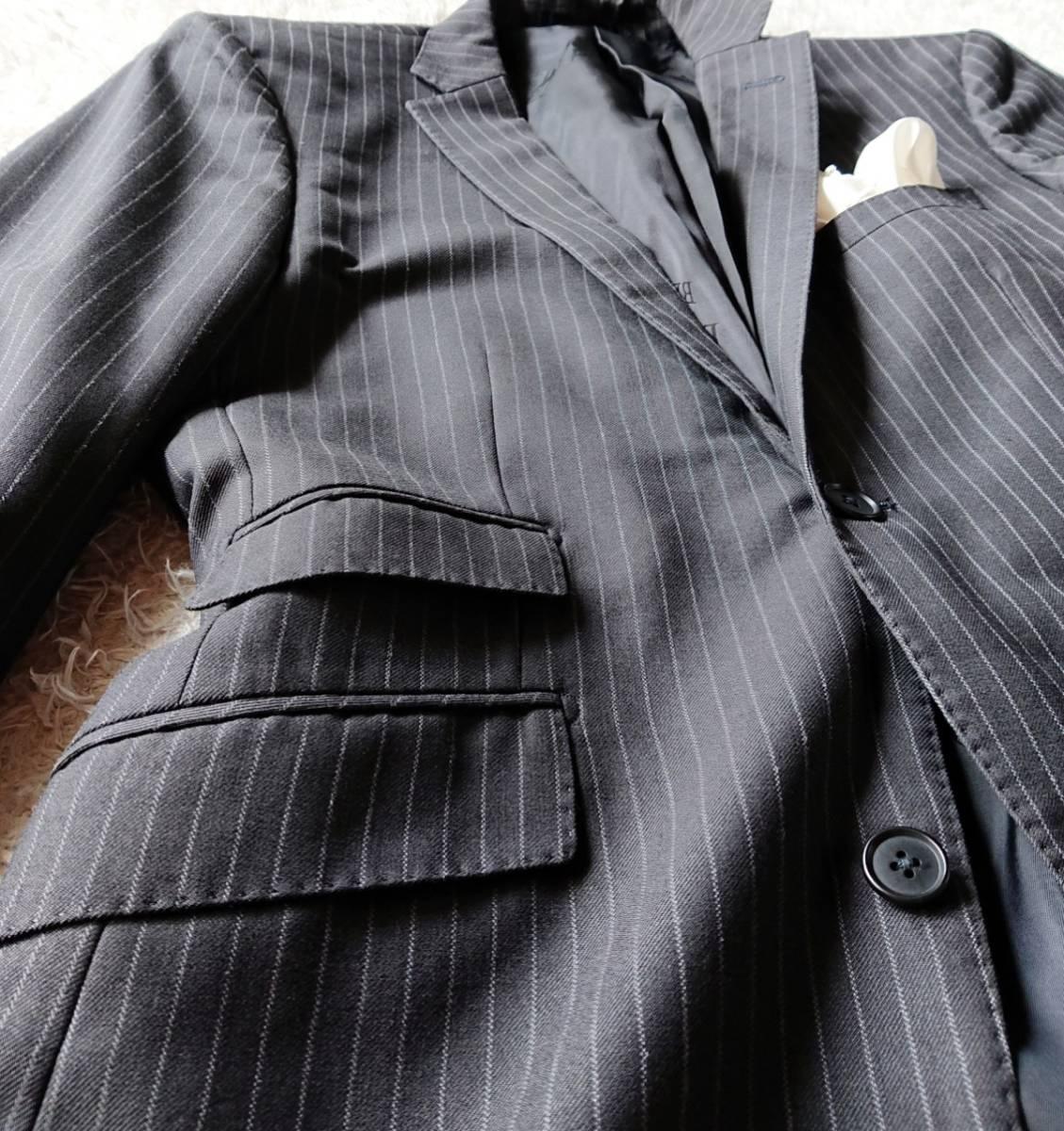 美品 英国仕様 希少な極上デザイン英文字ロゴ入 柔らかな肌触り★ バーバリー ブラック レーベル スーツ セットアップ メンズ ダークグレー_画像6