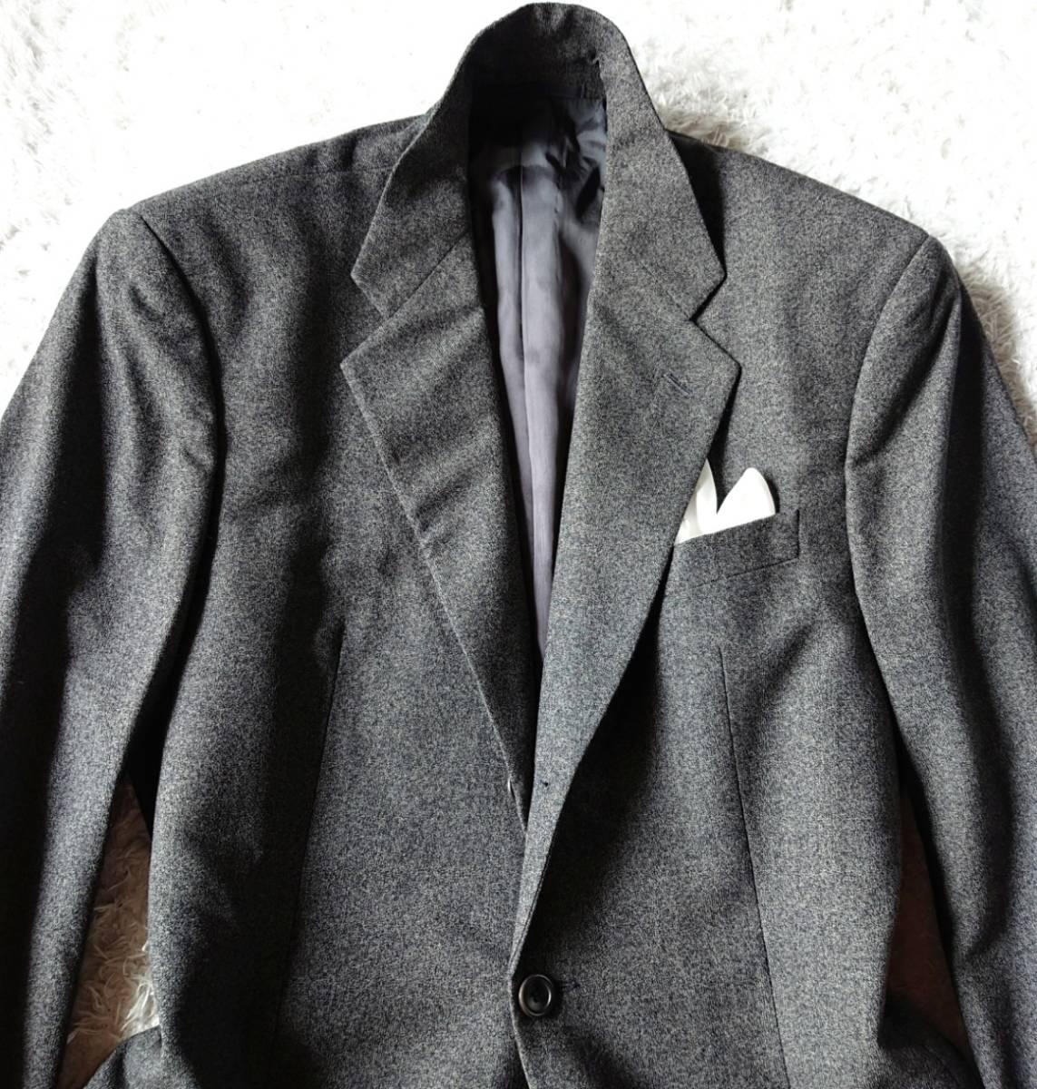 最高級ビジネスライン 極上ヴァージンウール100% 柔らか高級な肌触★ アルマーニ コレツィオーニ スーツ セットアップ メンズ ダークグレー_画像3