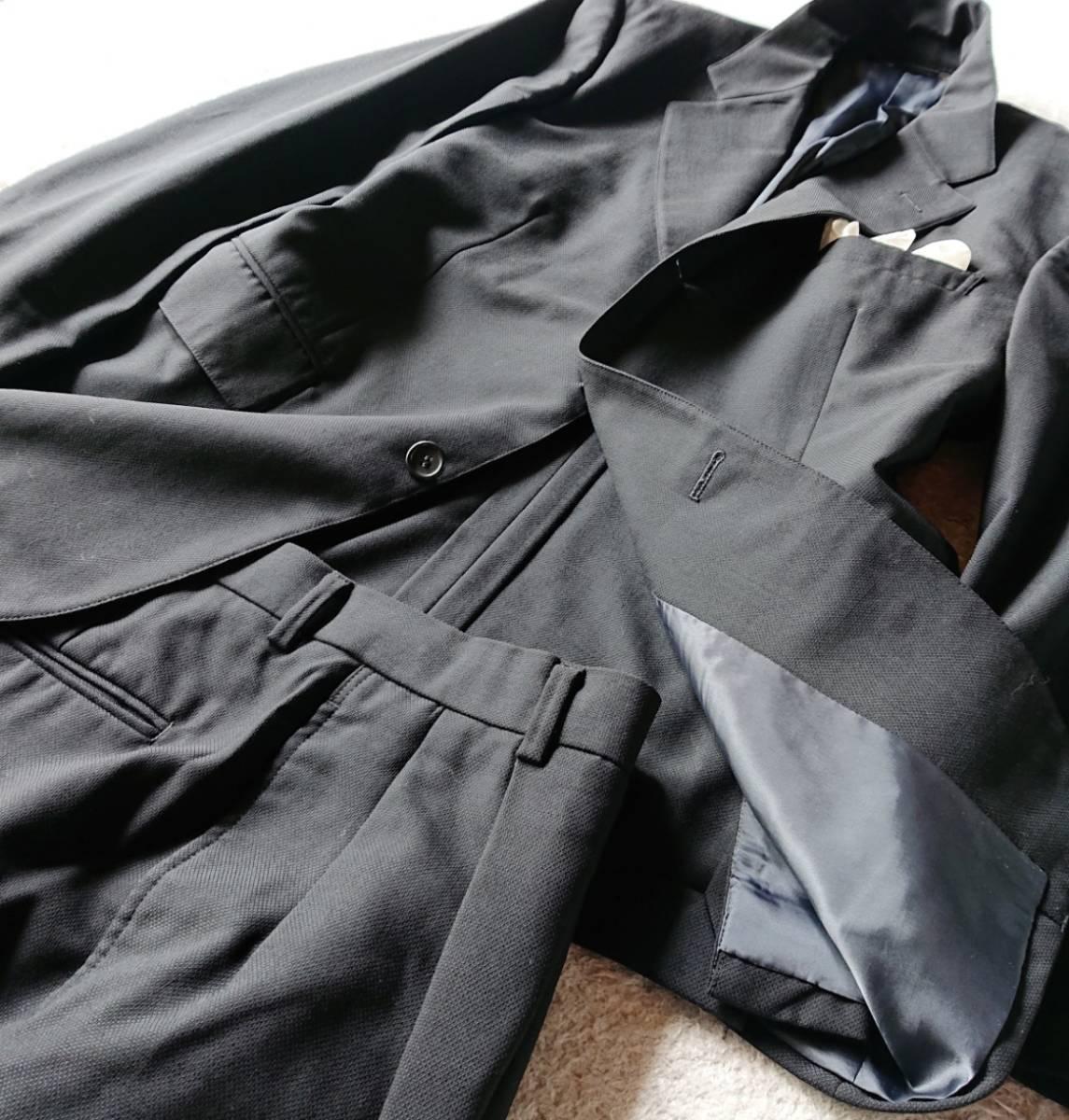 高級ピュアニューウール100% 日本製 予備パンツ付き★ ブルックス ブラザーズ スーツ セットアップ メンズ ブラック 黒 ビジネス 背抜き_画像5
