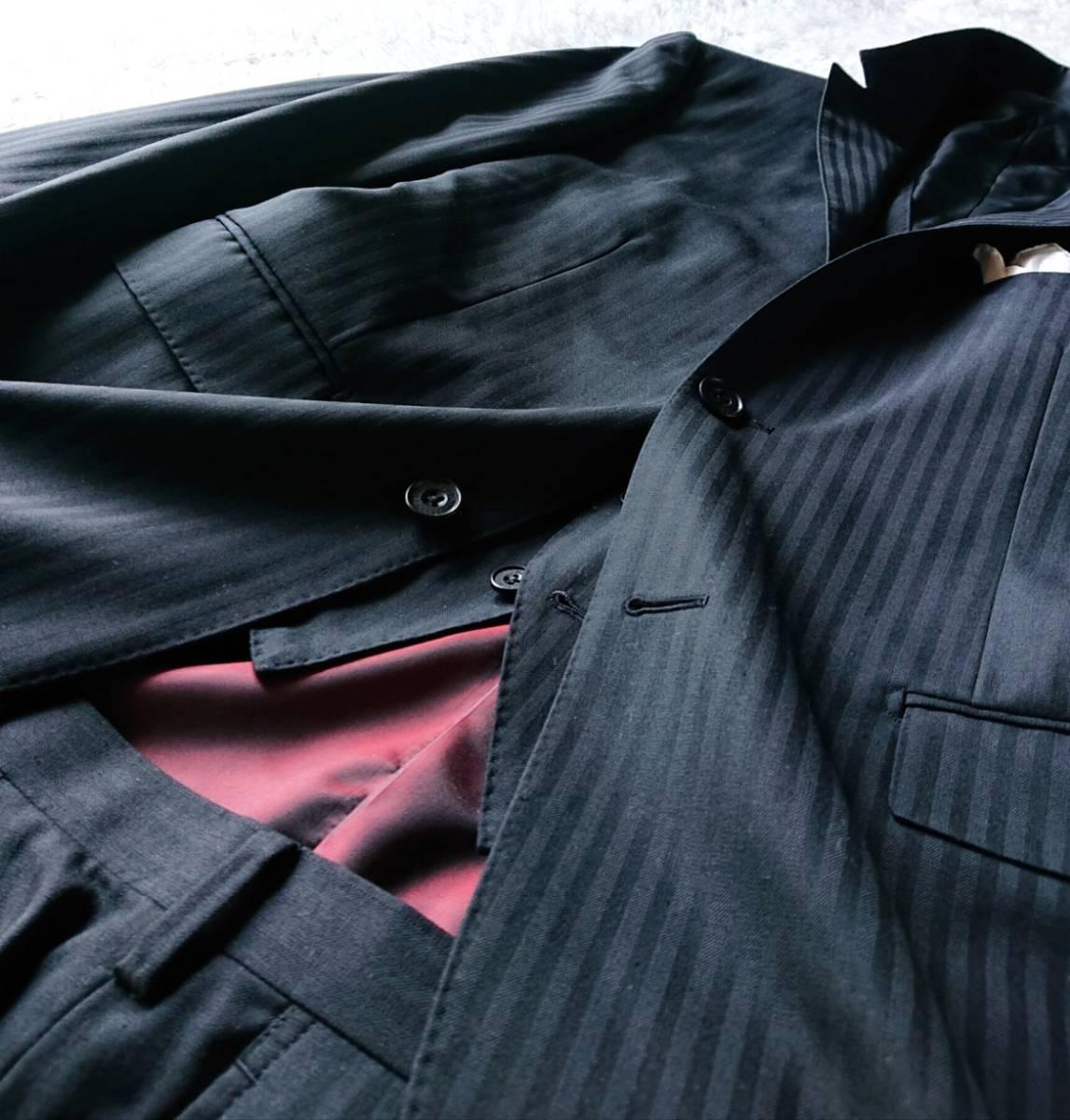 激レア希少 大人気赤 BURBERRY BLACK LABEL ★ シルク混 スリーピース バーバリー ブラック レーベル スーツ セットアップ メンズ ブラック_画像4