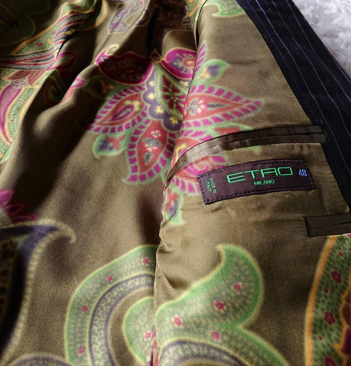 美品 ETRO Milano ラグジュアリー×ペイズリー柄 極上な風合い 襟裏豪華『釦英文字ロゴ入』★ エトロ スーツ セットアップ メンズ ビジネス_画像9