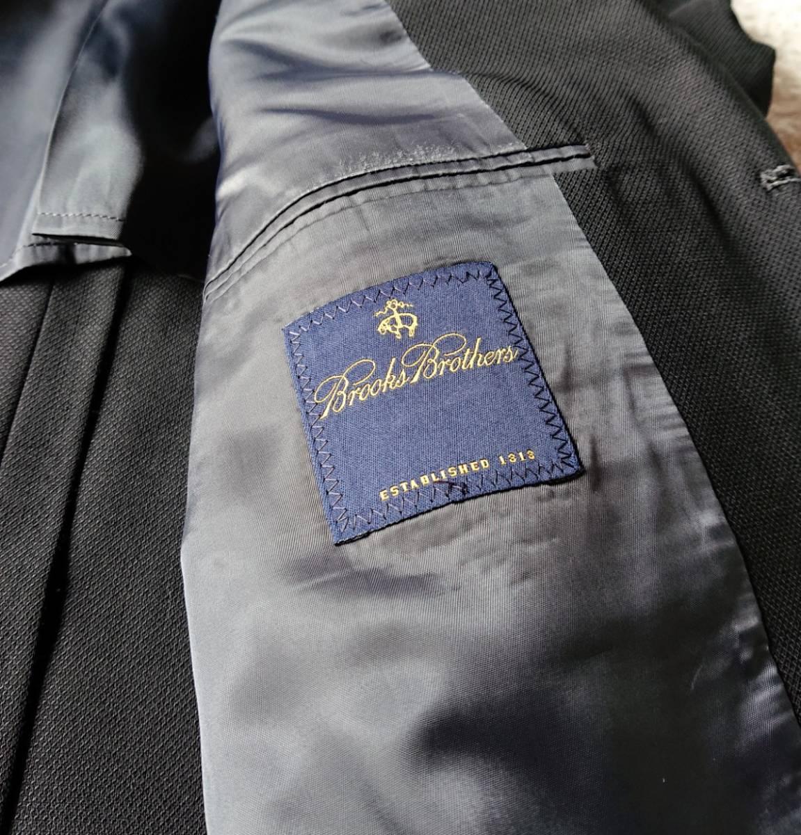 高級ピュアニューウール100% 日本製 予備パンツ付き★ ブルックス ブラザーズ スーツ セットアップ メンズ ブラック 黒 ビジネス 背抜き_画像8