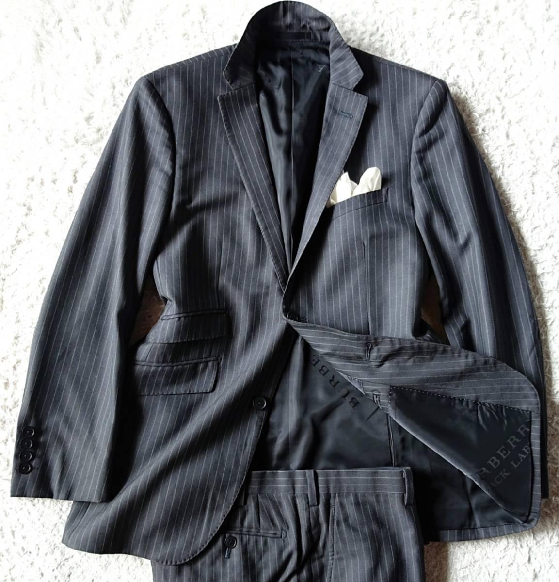 美品 英国仕様 希少な極上デザイン英文字ロゴ入 柔らかな肌触り★ バーバリー ブラック レーベル スーツ セットアップ メンズ ダークグレー