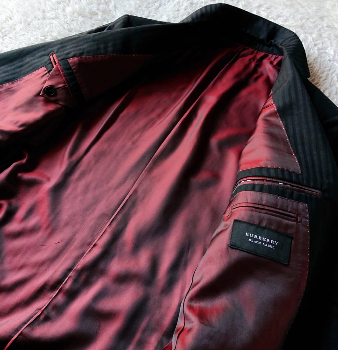 激レア希少 大人気赤 BURBERRY BLACK LABEL ★ シルク混 スリーピース バーバリー ブラック レーベル スーツ セットアップ メンズ ブラック_画像10