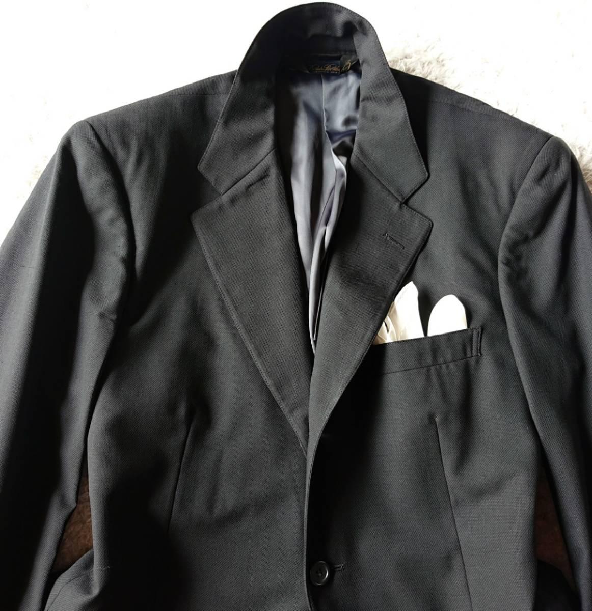 高級ピュアニューウール100% 日本製 予備パンツ付き★ ブルックス ブラザーズ スーツ セットアップ メンズ ブラック 黒 ビジネス 背抜き_画像3