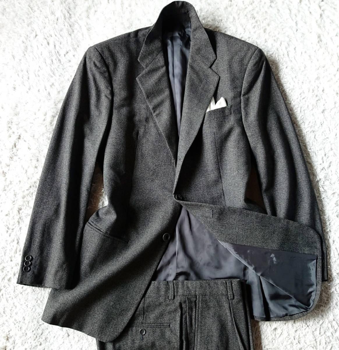 最高級ビジネスライン 極上ヴァージンウール100% 柔らか高級な肌触★ アルマーニ コレツィオーニ スーツ セットアップ メンズ ダークグレー