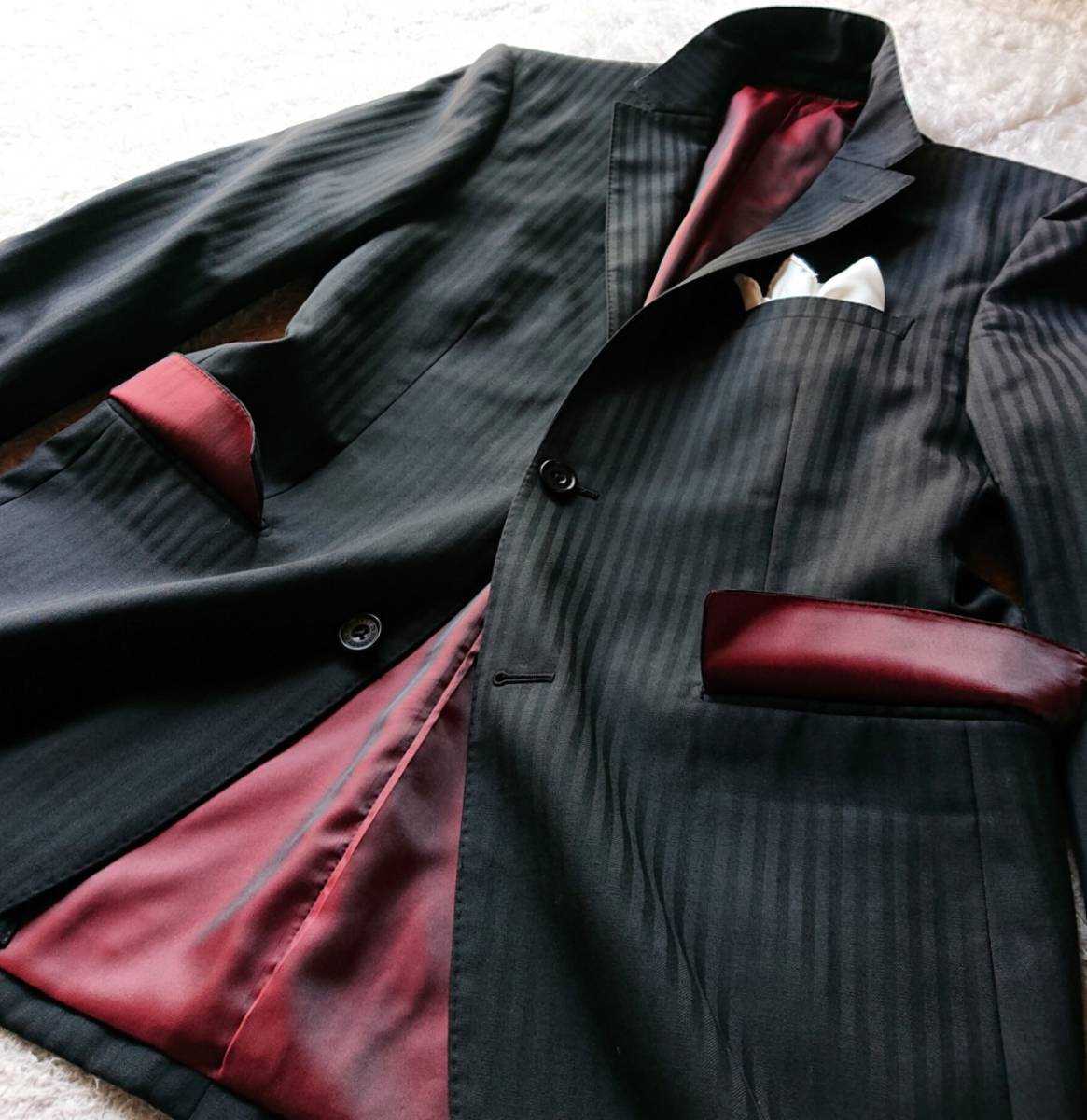 激レア希少 大人気赤 BURBERRY BLACK LABEL ★ シルク混 スリーピース バーバリー ブラック レーベル スーツ セットアップ メンズ ブラック_画像5