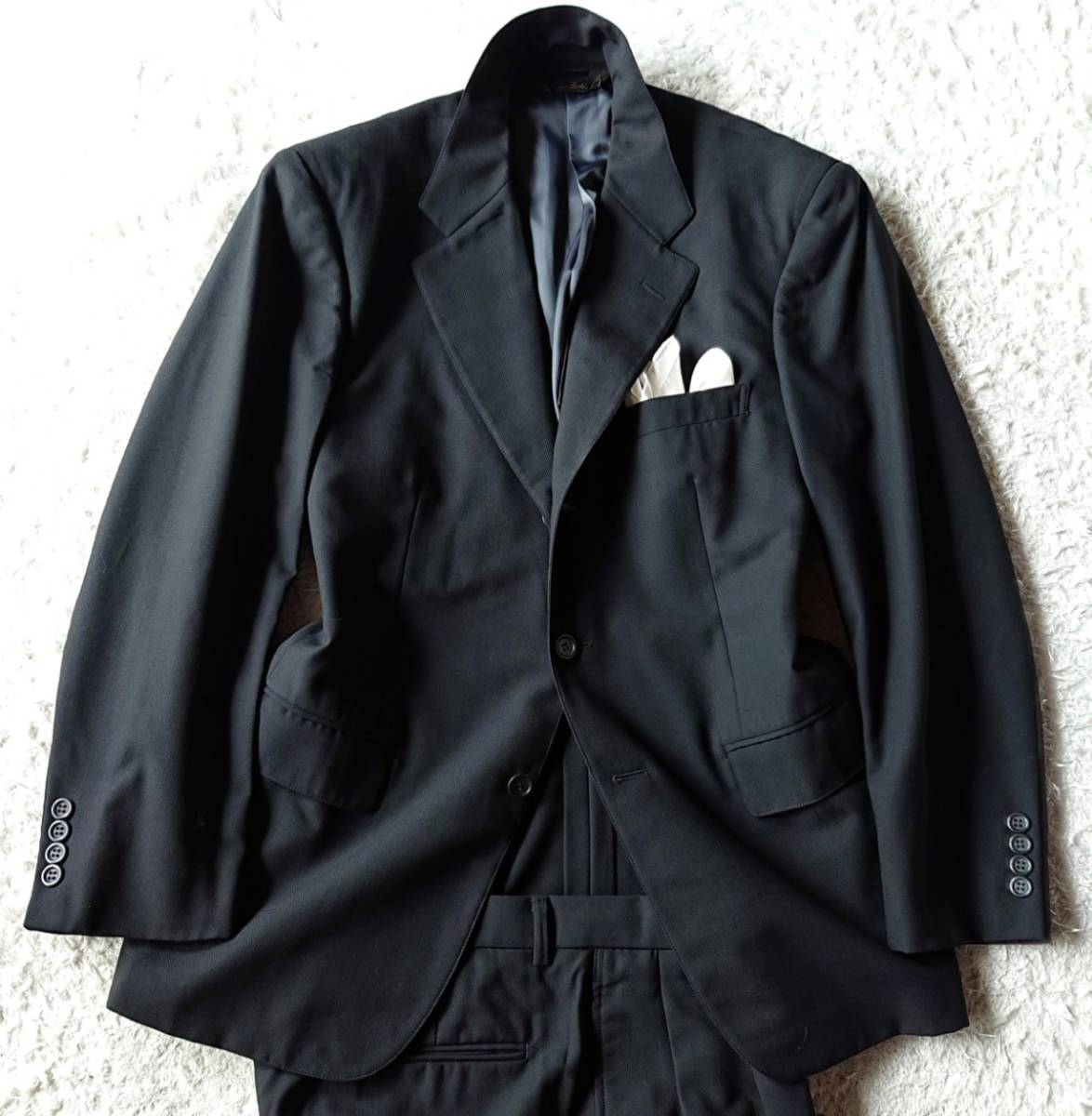 高級ピュアニューウール100% 日本製 予備パンツ付き★ ブルックス ブラザーズ スーツ セットアップ メンズ ブラック 黒 ビジネス 背抜き_画像2
