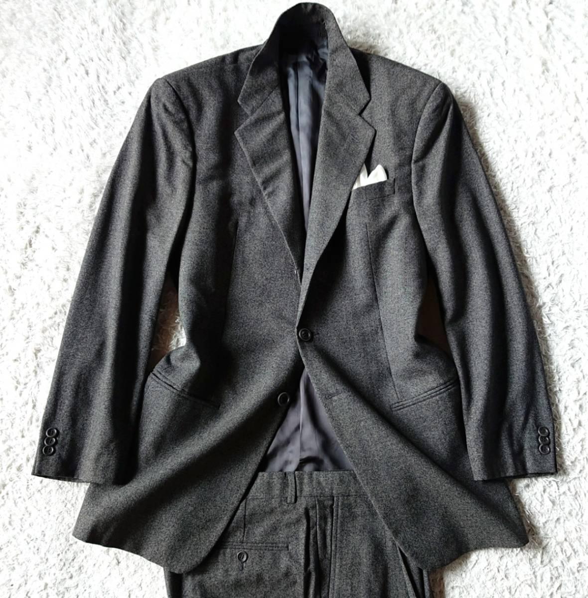 最高級ビジネスライン 極上ヴァージンウール100% 柔らか高級な肌触★ アルマーニ コレツィオーニ スーツ セットアップ メンズ ダークグレー_画像2
