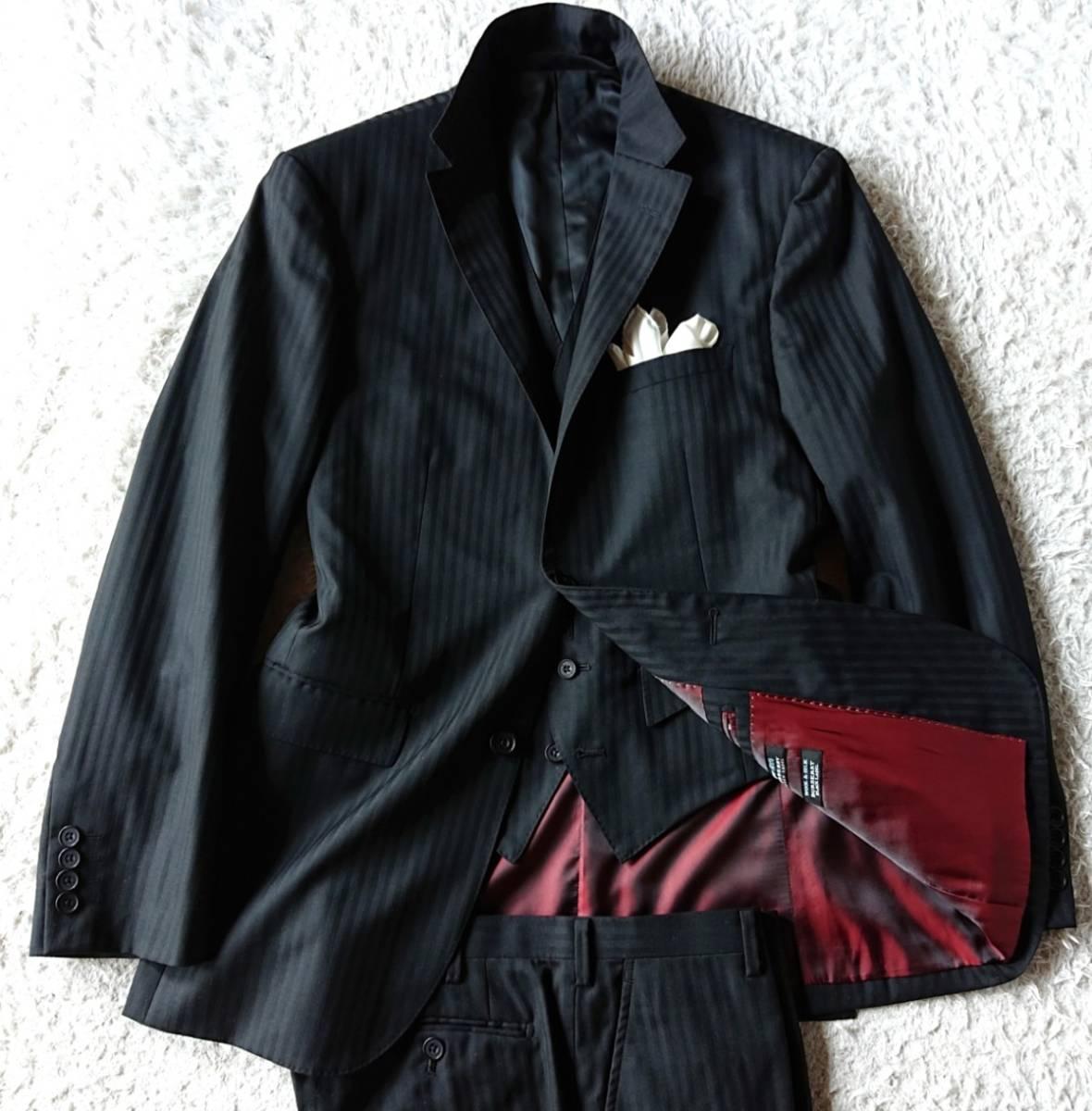 激レア希少 大人気赤 BURBERRY BLACK LABEL ★ シルク混 スリーピース バーバリー ブラック レーベル スーツ セットアップ メンズ ブラック