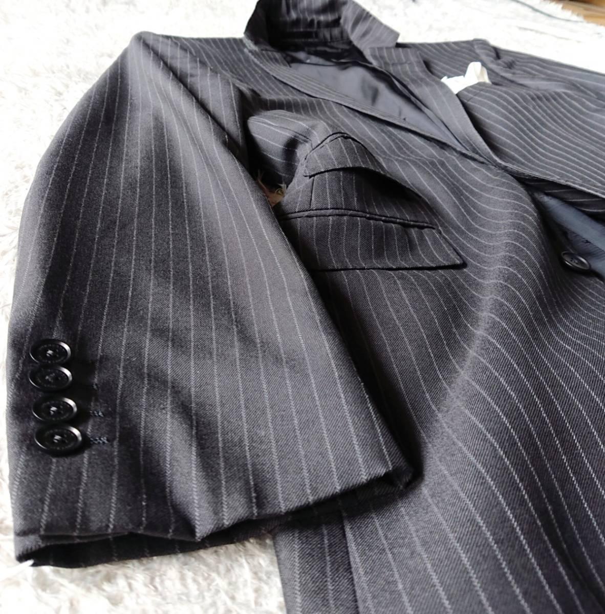 美品 英国仕様 希少な極上デザイン英文字ロゴ入 柔らかな肌触り★ バーバリー ブラック レーベル スーツ セットアップ メンズ ダークグレー_画像5