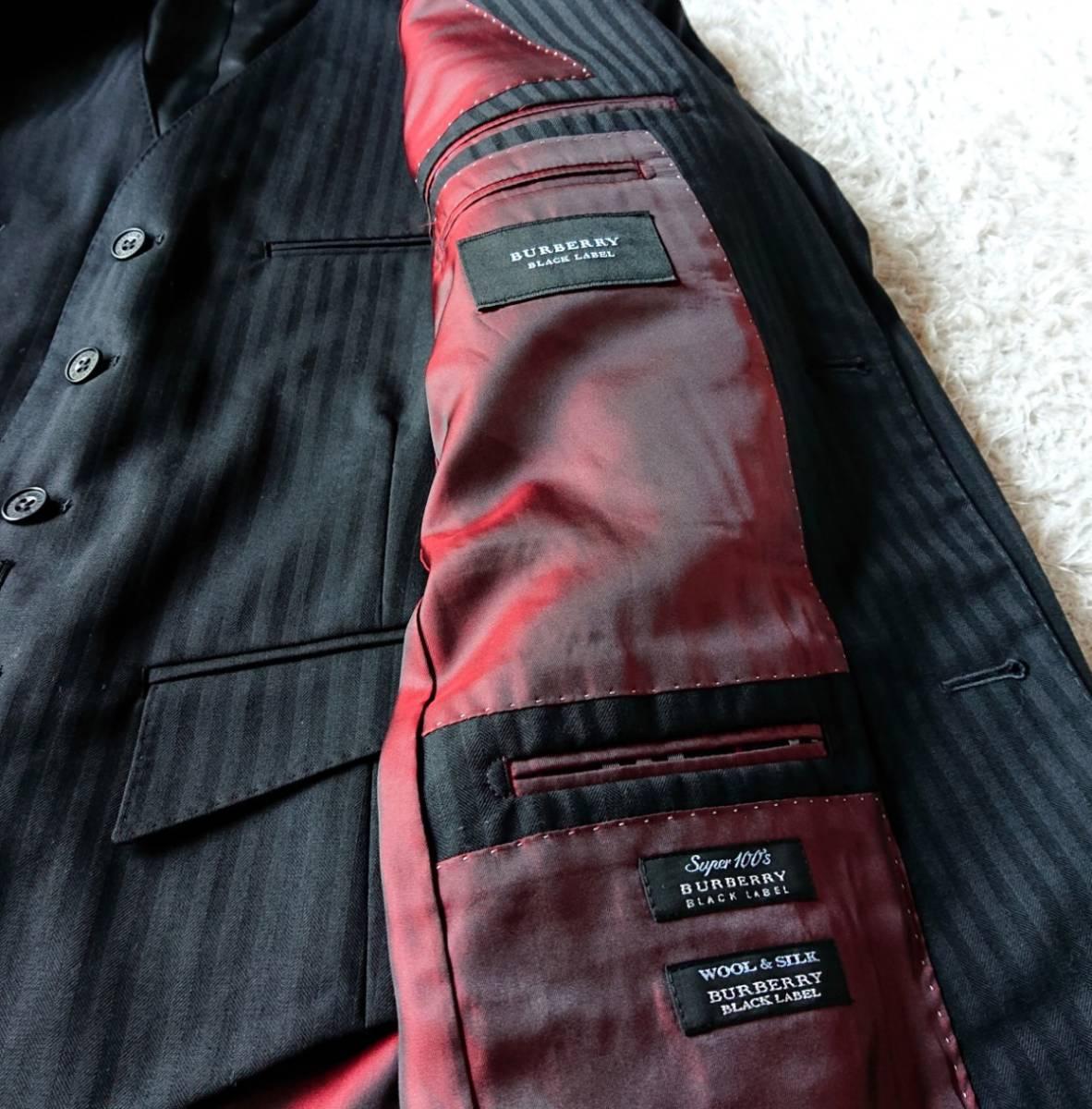 激レア希少 大人気赤 BURBERRY BLACK LABEL ★ シルク混 スリーピース バーバリー ブラック レーベル スーツ セットアップ メンズ ブラック_画像9