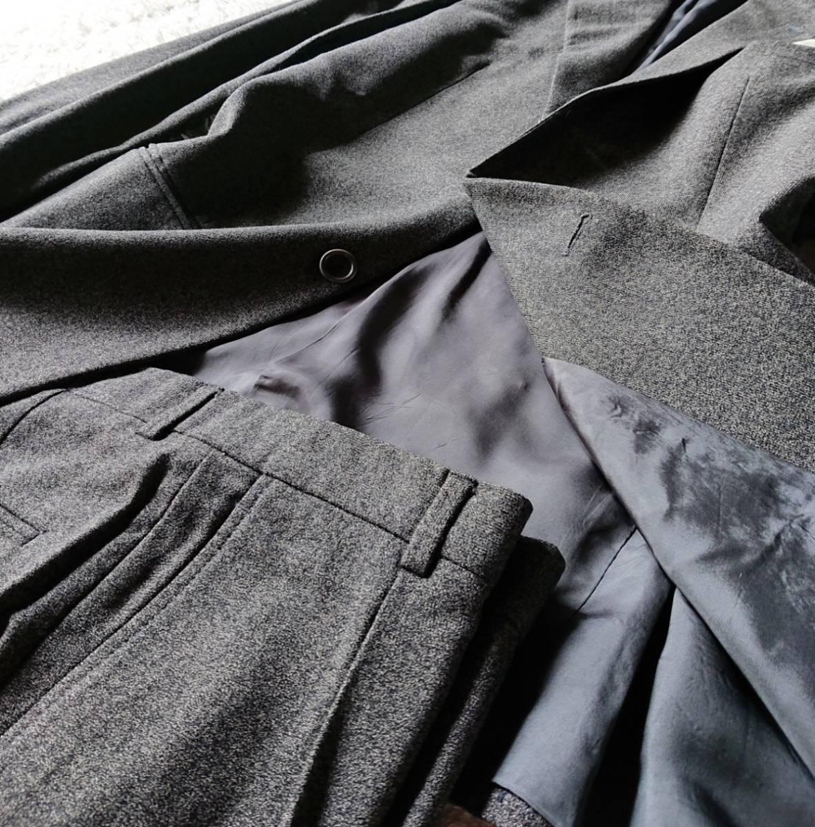 最高級ビジネスライン 極上ヴァージンウール100% 柔らか高級な肌触★ アルマーニ コレツィオーニ スーツ セットアップ メンズ ダークグレー_画像5