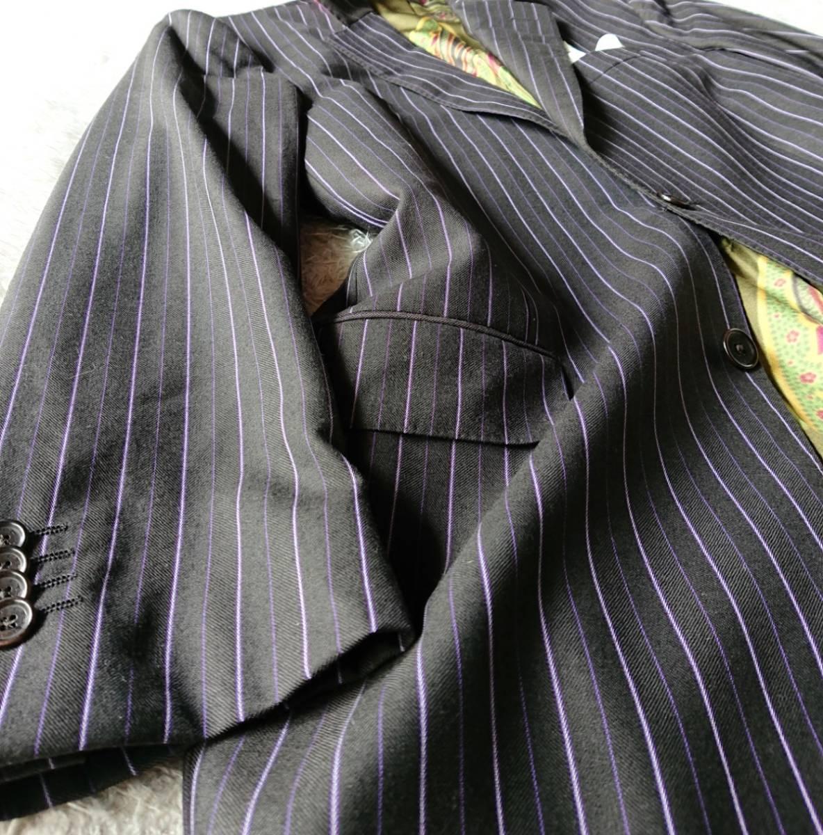 美品 ETRO Milano ラグジュアリー×ペイズリー柄 極上な風合い 襟裏豪華『釦英文字ロゴ入』★ エトロ スーツ セットアップ メンズ ビジネス_画像6