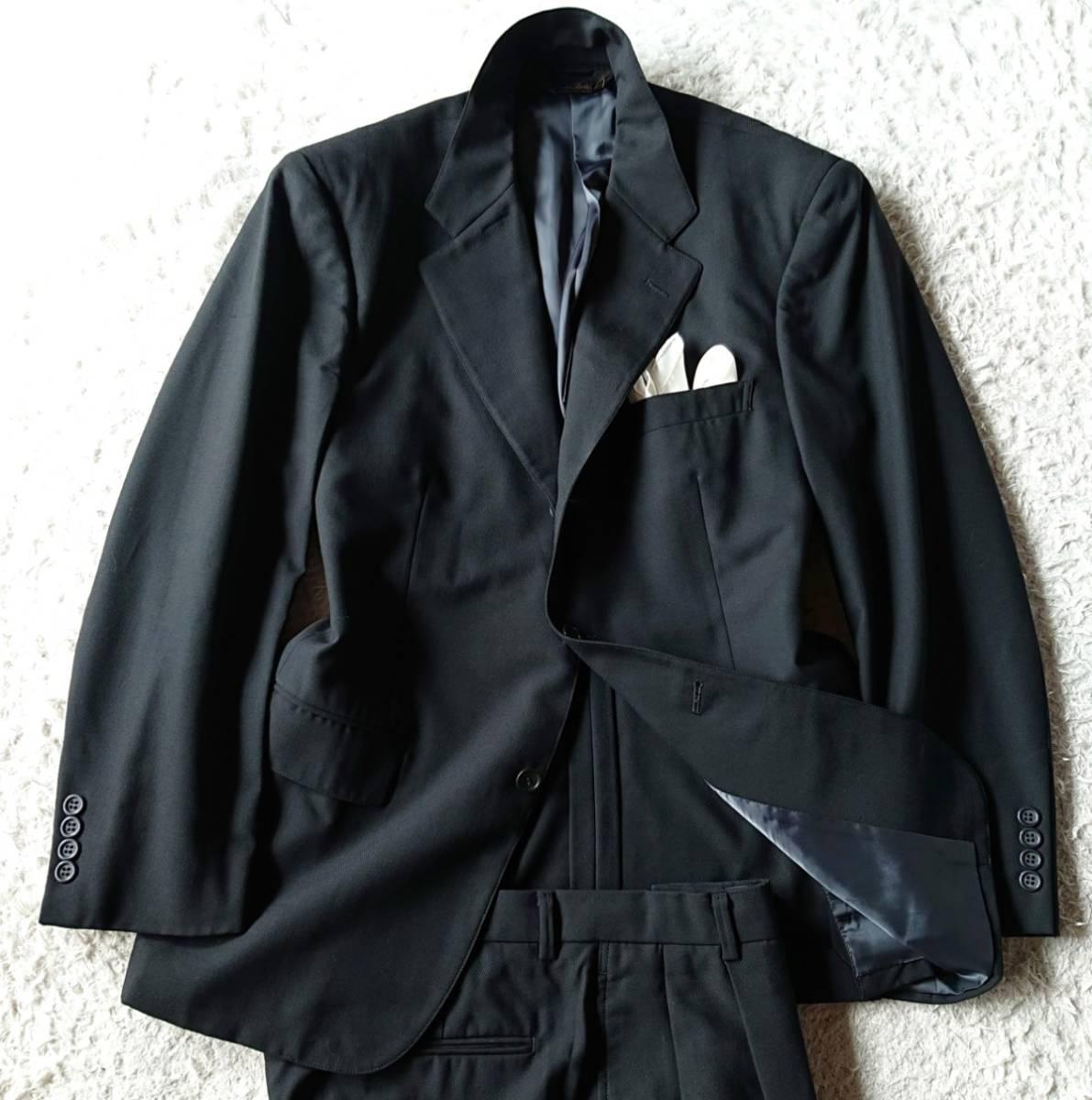 高級ピュアニューウール100% 日本製 予備パンツ付き★ ブルックス ブラザーズ スーツ セットアップ メンズ ブラック 黒 ビジネス 背抜き