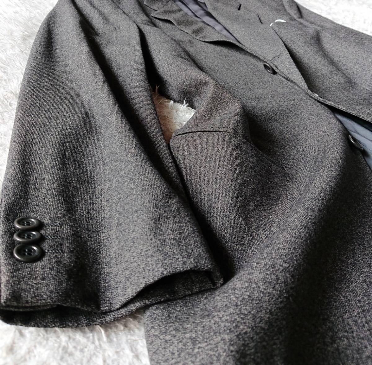 最高級ビジネスライン 極上ヴァージンウール100% 柔らか高級な肌触★ アルマーニ コレツィオーニ スーツ セットアップ メンズ ダークグレー_画像6