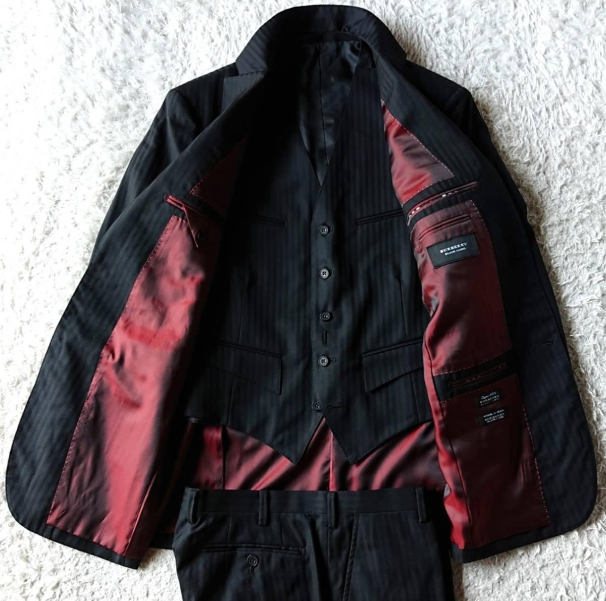 激レア希少 大人気赤 BURBERRY BLACK LABEL ★ シルク混 スリーピース バーバリー ブラック レーベル スーツ セットアップ メンズ ブラック_画像7