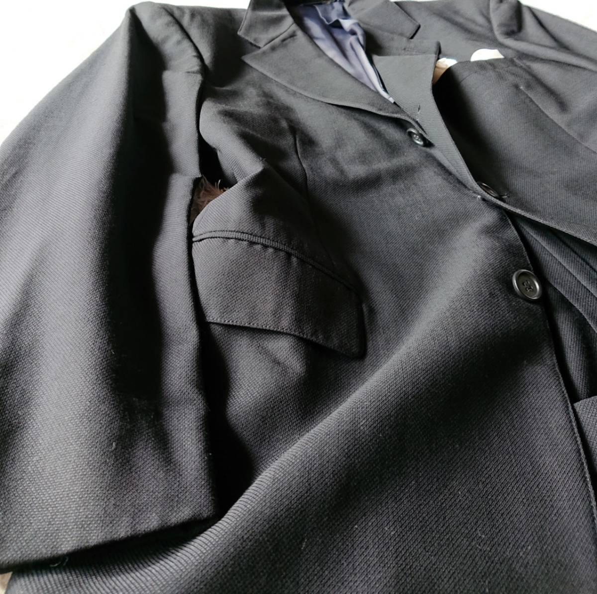 高級ピュアニューウール100% 日本製 予備パンツ付き★ ブルックス ブラザーズ スーツ セットアップ メンズ ブラック 黒 ビジネス 背抜き_画像6