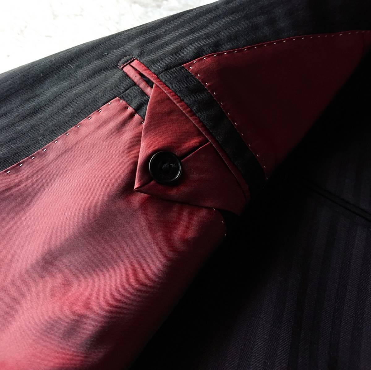 激レア希少 大人気赤 BURBERRY BLACK LABEL ★ シルク混 スリーピース バーバリー ブラック レーベル スーツ セットアップ メンズ ブラック_画像8