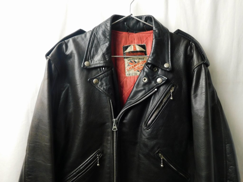 50s60s70s ビンテージ Highwayman ハイウェイマン CHAMPION RIVETTS ダブル ライダース レザー ジャケット 黒 UK イギリス製