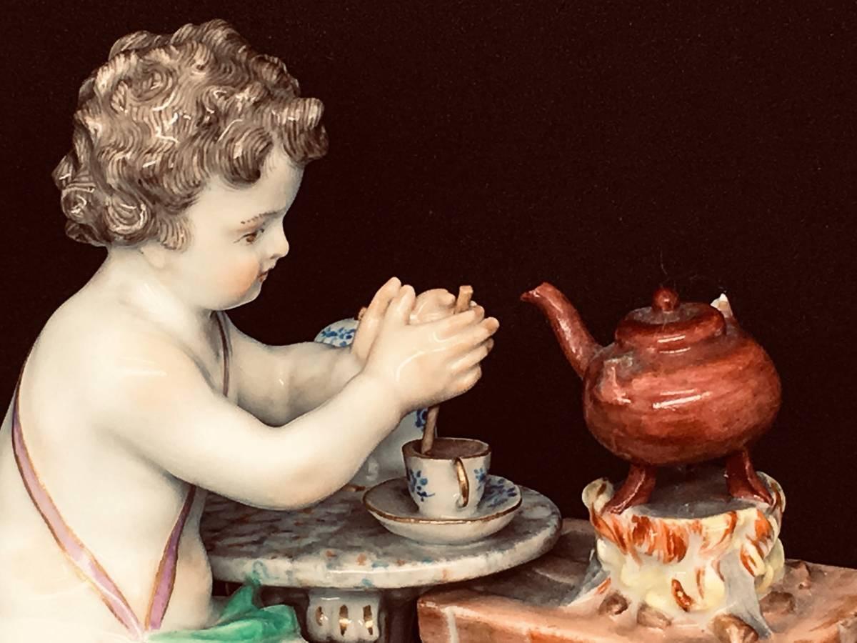 最上級オールドマイセン『ホットチョコレートを作る天使』フィギュア!四大元素シリーズ!愛らしい優品・19世紀ドイツ・窯印有・本物保証!_画像2