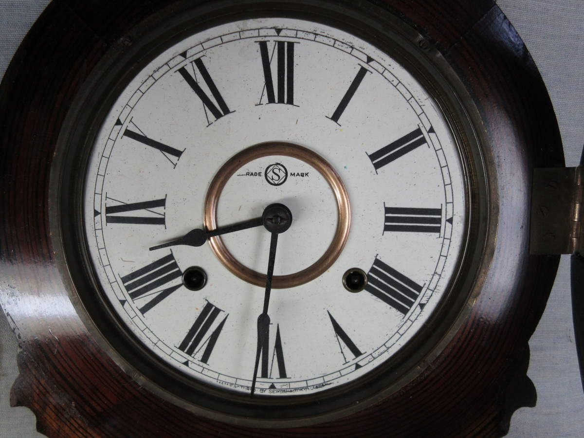 柱時計 8インチ紙文字盤真鍮被せ 四つ丸 精工舎製 古時計 完動品_画像8