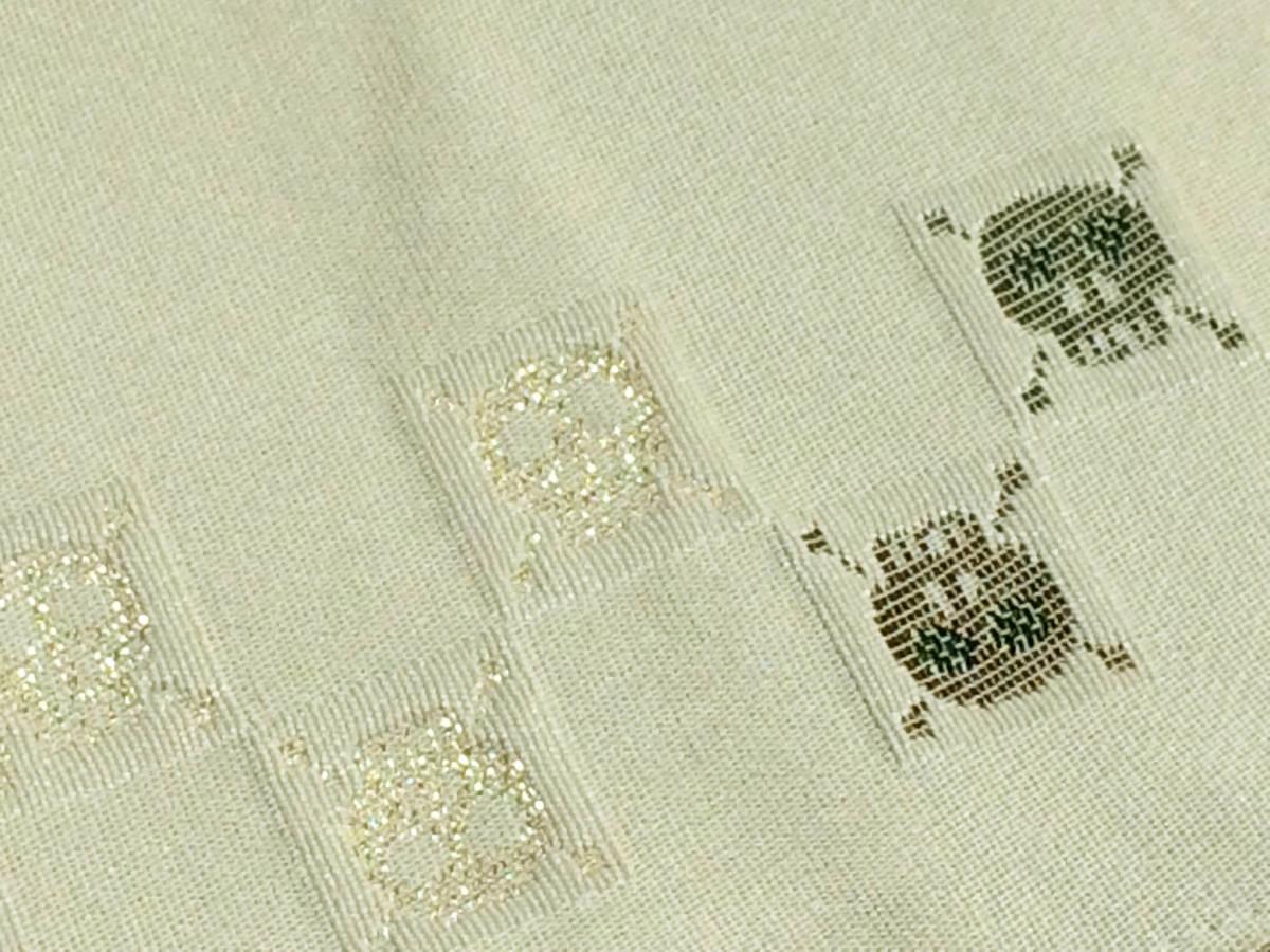 男の浴衣・着物に★オシャレなドクロ柄の男性角帯【オフホワイト・市松ドクロ】_画像3